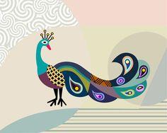 Peacock in Art Abstract Peacock Art Peacock Feather by iQstudio Peacock Artwork, Peacock Drawing, Bird Artwork, Feather Art, Mid Century Modern Art, Bird Prints, Nursery Art, Poster Prints, Art Print