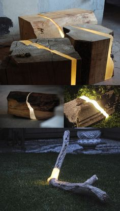Lamps Made from Sawmill Waste and Tree Branches Embedded with Resin and LEDs by Italian designer Marco Stefanelli