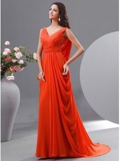 Večerní šaty - $155.99 - Princesový Véčkový výstřih Dlouhá vlečka Chiffon Večerní šaty S Volán  http://www.dressfirst.cz/A-Line-Princess-V-Neck-Sweep-Train-Chiffon-Evening-Dress-With-Ruffle-017022726-g22726