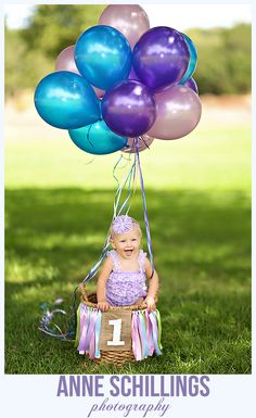 Anne Schillings Photography Child Portrait Photo One year old high heels cake smash balloons purple lilac lavender blue streamers flowers crepe paper cupcake pearls pink romper hair bow outdoor birthday sonoma county windsor santa rosa healdsburg marin napa photographer baby girl  tutu pettiromper & hair bow by @TheHairBowCo   https://www.facebook.com/anneschillingsphotography