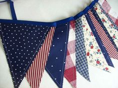 Patriotic Banner/ Red White and Blue Bunting/ 4th by aLittleFrayed