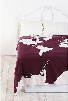 Maroon map blanket