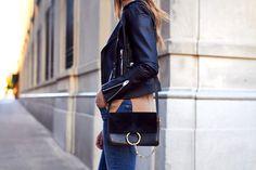 BLANKNYC easy rider black leather jacket, camel cashmere sweater, m.i.h jeans, chloe faye black handbag, sam edelman nude pumps, fall outfit