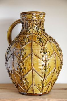 Doug Fitch - Large Yellow Slip Trailed Jug with Applied Decoration