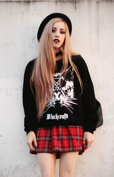 Cat Sweatshirt with black hat, Plaid dress & Choker                                                                                                                                                                                 More