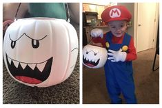 I turned a jack-o-lantern candy bucket into a boo to match my sons Mario costume last Halloween! Kids Mario Costume, Mario Halloween Costumes, Super Mario Costumes, Mario And Luigi Costume, Halloween Games For Kids, Halloween Boo, Halloween Season, Happy Halloween, Super Mario Birthday