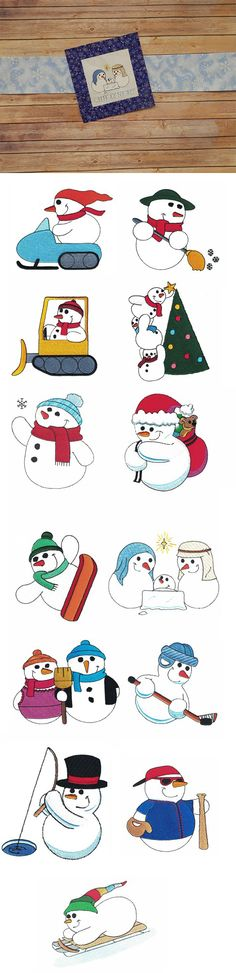 Super Sweet Snowmen Filled design set is available for Instant Download at designsbyjuju.com