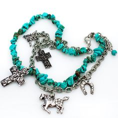 Adjustable Cowgirl Boot Charms Chain Strap Turquoise Horse