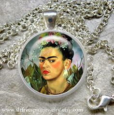 Frida Kahlo Necklace Frida Jewelry Cabochon jewelry Women