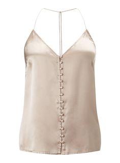 Mink Button Silk Cami Top - Miss Selfridge