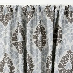 Fiori Damask Lined Seaglass 3 in. Rod Pocket Curtain Panel - Print Drapery Panels