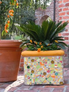 exterior: Cute And Charming Looks Of Mosaic Design Ideas By Using Funny Yellow And Cute Colorful Nuance Coupled With Giant Vase Beside It - Artistic Mosaic Design Ideas Gaining Awesome Impression, Luxury Busla: Home Decorating Ideas and Interior Design