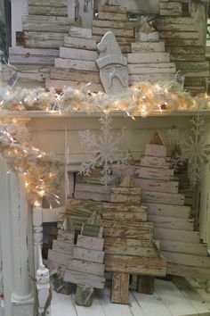 """Scrap Wood Christmas Trees..these would be really cool with """"Merry Christmas or Happy Holidays"""" painted on them"""