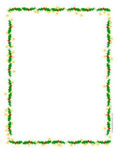 Holly and stars printable Christmas border paper or clip art frame in Adobe PDF format. Christmas Writing, Christmas Text, Christmas Flyer, Christmas Graphics, Christmas Frames, Christmas Books, Christmas Letter Template, Christmas Printables, Free Christmas Borders