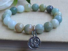 Amazonite Faceted Bead Stretch Bracelet, Multi-Color Semiprecious Stone Amazonite, Sterling Silver LOVE Charm Bracelet