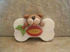 Give a Dog a Bone Personalized Christmas by countrycupboardclay, $13.95