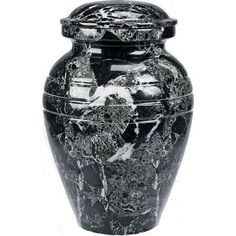 Star Legacyu0027s Classic Ebony Grain Marble Vase Cremation Urn For Human  Ashes, White