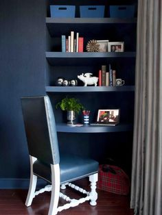 40 Awesome Indigo Home Décor Ideas : 40 Awesome Indigo Home Décor Ideas With Dark Wooden Blue Desk And Chair