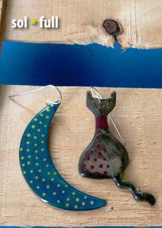 Cat + Moon Handmade - Handpainted earrings