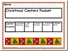 Christmas Center Packet for Primary Grades