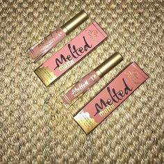 """Too faced melted matte liquid lipstick 2pc lot Brand new too faced melted matte liquid lipstick set. 2 lipsticks, one in shade """"child star"""" and one in shade """"cool girl"""" both were swatches, but not worn. Too Faced Makeup Lipstick"""