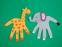 Giraffe and elephant hand print