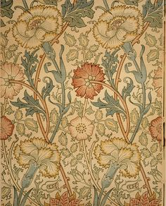"c. 1890 William Morris ""Pink and Rose"" Wallpaper"