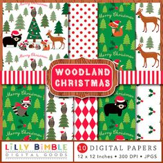 40% off Woodland Christmas digital papers animals by LillyBimble