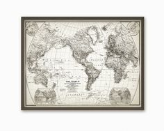 World Map Poster Rustic Vintage Style By ConquestMaps On Etsy - Large vintage world map poster
