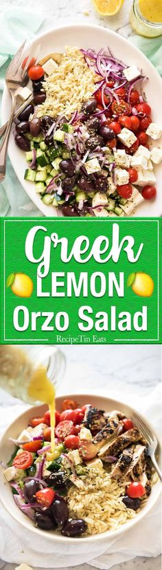 Greek Lemon Orzo Salad (Risoni) - All the fixings of a Greek Salad tossed through orzo / risoni and dressed with a gorgeous zesty lemon vinaigrette. http://www.recipetineats.com