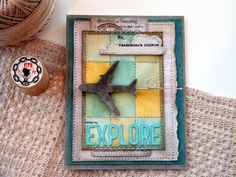 Celebrate the joy of traveling with this wonderfully rustic & stitched Explore card!