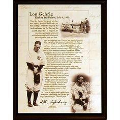 Lou Gehrig Speech 8x10 Plaque