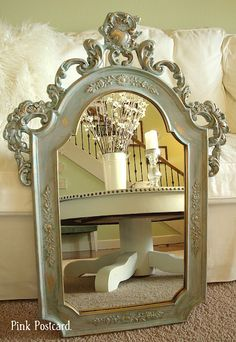 ASCP - Gold mirror with Duck Egg as first layer, Paris Grey as second layer, then clear and dark wax.