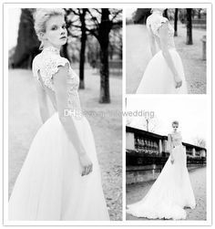 Cheap Berta 2014 Chic High Neck Wedding Dresses Lace Appliques Cap Sleeves Vintage Bridal Dress Wedding Dress Sheer Castle Wedding Gowns