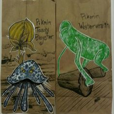 20130222 #pikmin#toady#bloyster and #waterwraith#sketch #lunch #bag for my #sons. #art#anad#comic#cartoon#vintage#retro#paint#doodle#videogames#games#daily#family#school#eat#food#eachday#draw#pixel#marker