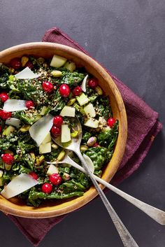 Kale Salad with Pickled Cranberries and Crispy Quinoacountryliving
