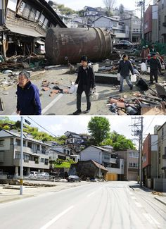 Japan tsunami and earthquake: Pictures of recovery 3 months later Japan Earthquake, Earthquake And Tsunami, Natural Phenomena, Natural Disasters, Tornados, Tsunami 2011, Wall Of Water, Nuclear Power, Before And After Pictures