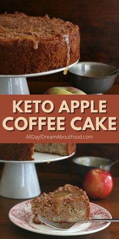 Moist keto cinnamon apple coffee cake drizzled with homemade sugar free caramel sauce. Everything you love about fall in one recipe! Low Sugar Recipes, Fun Baking Recipes, Keto Recipes, Sugar Free Sweets, Gluten Free Sweets, Low Carb Desserts, Healthy Dessert Recipes, Gluten Free Cupcake Recipe, Floating Raft