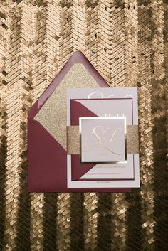 MATTHEW Suite Glitter Package, gold foil, gold and red, glitter wedding invitations, burgundy and gold, jewel tone wedding colors