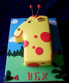 so I turned it into a cake. Number One Cake, Number Cakes, Baby 1st Birthday Cake, Cake Designs For Boy, Giraffe Cakes, Jungle Cake, Animal Cakes, New Cake, Specialty Cakes