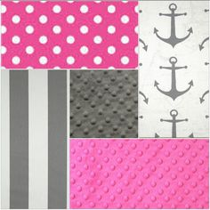 Nautical Baby Girl Crib Bedding  Gray Anchors by DesignsbyChristyS
