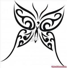 Black Ink Tribal Butterfly Tattoo Design