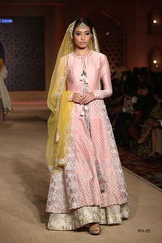 BPFT 2015- Anju Modi long silk sherwani lengha set in light pink silver gold