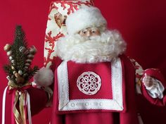 Santa Doll Santa Claus Sea Shell Santa Red by DollmakerNic on Etsy, $225.00  Colonial Archives Sea Shell Fabric....Unique!!
