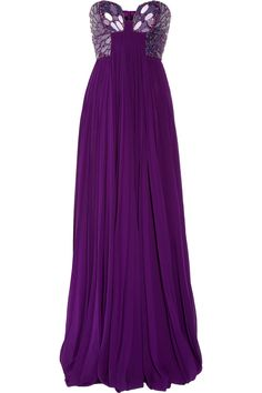Roberto Cavalli, embellished silk-chiffon bustier gown