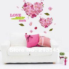 Sábado centro comercial - bonita romântica em forma de coração da arte da flor adesivos wallpaper pintura decorativa