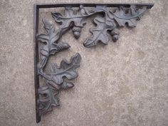 "Pair Vintage Large Shelf Brackets Oak Leave Acorn Design 13"" x 13"" - ebay"
