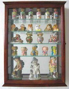 Wall Curio Cabinet Display Glass 2 Door Teak Carved DisplayGifts Figurines Case