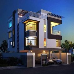 Modern Style Two Storey Residential House. Modern Exterior House Designs, Modern Farmhouse Exterior, Dream House Exterior, Modern House Design, Modern Bungalow Exterior, 3 Storey House Design, Bungalow House Design, House Front Design, House Design Pictures