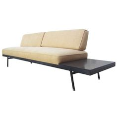 This mid-century sofa by Vista of California features features three comfortable seats with an attached black Formica side table. The angled back cushions are held in place by a minimal wrought iron frame. The sofa is supported by spayed metal … Continue reading →